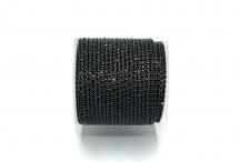 Стразовая цепочка, стекло, стразы 1,4 мм, черная в стальном покрытии