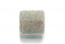 Стразовая цепочка, стекло, стразы 1,4 мм, кристалл в серебре