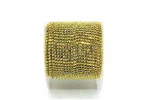 Стразовая цепочка, стекло, стразы 1,4 мм, золото в золоте
