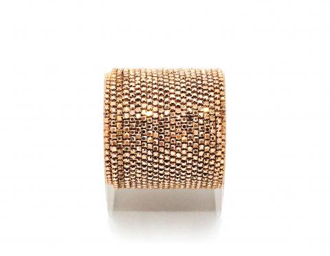 Стразовая цепочка, стекло, стразы 1,4 мм, розовое золото в розовом золоте