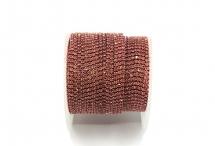 Стразовая цепочка, стекло, стразы 1,4 мм, розовая в розовом золоте