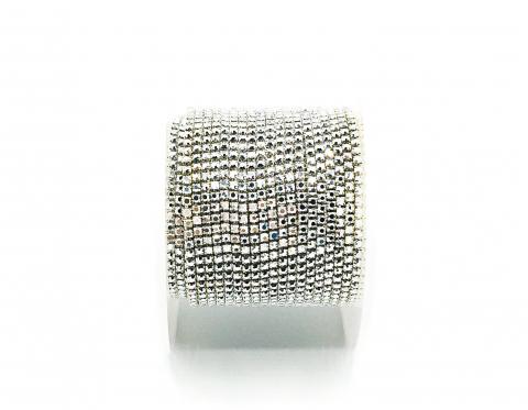Стразовая цепочка, стекло, стразы 1,4 мм, серебро в серебре