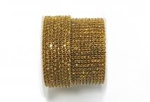 Стразовая цепочка, стекло, стразы 2 мм, янтарная в золоте
