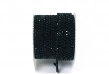 Стразовая цепочка, стекло, стразы 2 мм, чёрная в чёрном