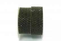 Стразовая цепочка, стекло, стразы 2 мм, чёрная в золоте