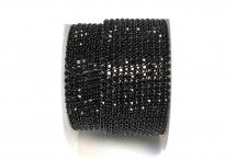 Стразовая цепочка, стекло, стразы 2 мм, чёрная в никеле