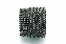 Стразовая цепочка, стекло, стразы 2 мм, чёрная в серебре
