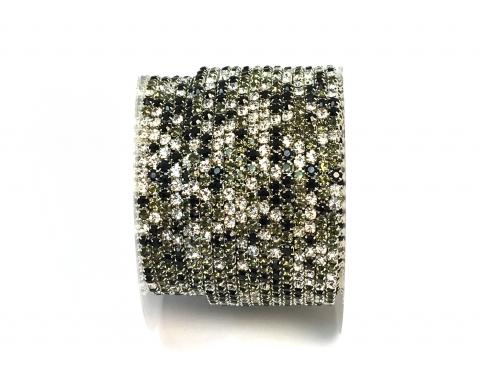 Стразовая цепочка, стекло, стразы 2 мм, чёрный микс в серебре