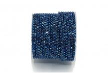 Стразовая цепочка, стекло, стразы 2 мм, синий металлик в гематите