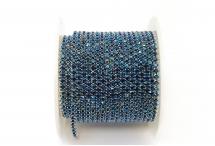 Стразовая цепочка, стекло, стразы 2 мм, синий металлик в серебре
