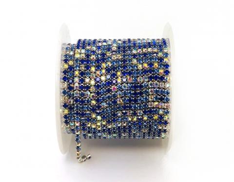 Стразовая цепочка, стекло, стразы 2 мм, синий микс в серебре
