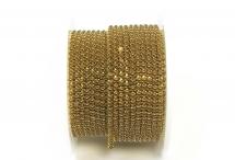 Стразовая цепочка, акрил, стразы 2 мм, коричневый жемчуг в золоте