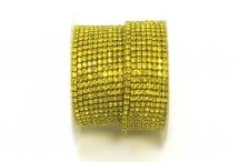 Стразовая цепочка, стекло, стразы 2 мм, цитрин в золоте