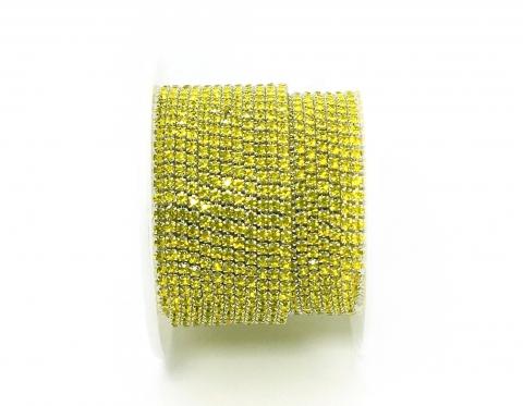 Стразовая цепочка, стекло, стразы 2 мм, цитрин в серебре