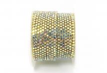 Стразовая цепочка, стекло, стразы 2 мм, радужный кристалл в золоте