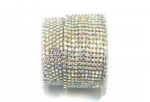 Стразовая цепочка, стекло, стразы 2 мм, радужный кристалл в серебре