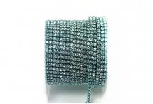 Стразовая цепочка, стекло, стразы 2 мм, кристалл в аквамарине
