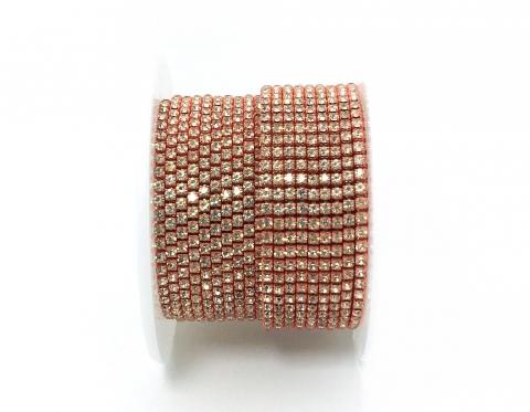 Стразовая цепочка, стекло, стразы 2 мм, кристалл в коралловом металле
