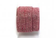 Стразовая цепочка, стекло, стразы 2 мм, кристалл в тёмно-розовом металле