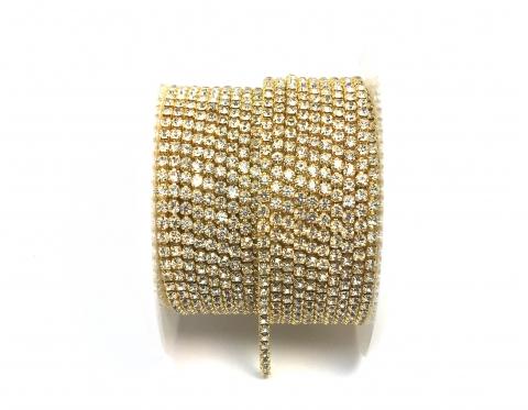 Стразовая цепочка, стекло, стразы 2 мм, кристалл в золоте