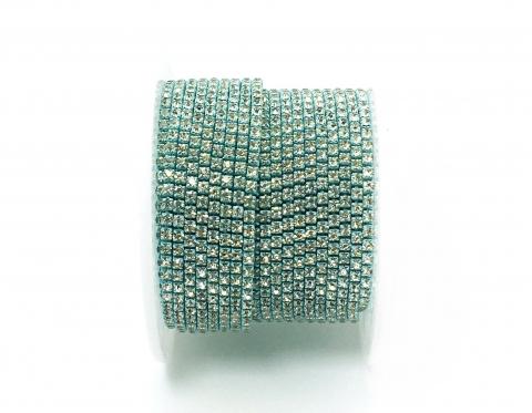 Стразовая цепочка, стекло, стразы 2 мм, кристалл в голубом металле