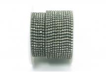 Стразовая цепочка, стекло, стразы 2 мм, кристалл в светло-сером металле