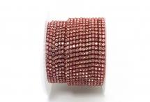 Стразовая цепочка, стекло, стразы 2 мм, кристалл в светло-красном металле