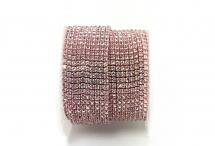 Стразовая цепочка, стекло, стразы 2 мм, кристалл в светло-розовом металле