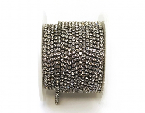 Стразовая цепочка, стекло, стразы 2 мм, кристалл в никеле