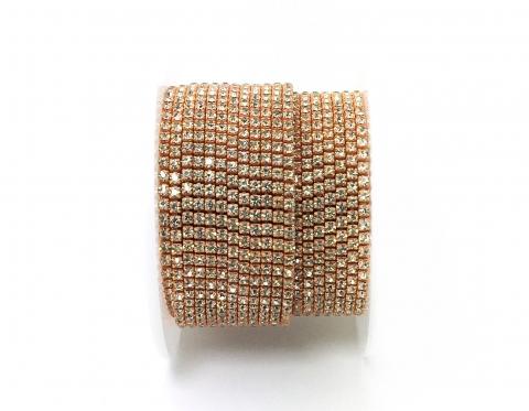 Стразовая цепочка, стекло, стразы 2 мм, кристалл в оранжевом металле