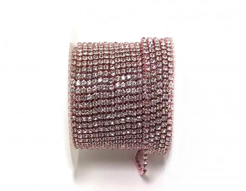 Стразовая цепочка, стекло, стразы 2 мм, кристалл в розовом металле