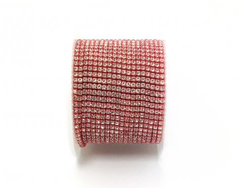 Стразовая цепочка, стекло, стразы 2 мм, кристалл в розовом коралле