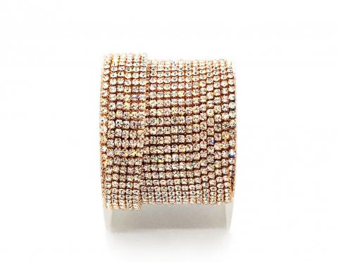 Стразовая цепочка, стекло, стразы 2 мм, кристалл в розовом золоте