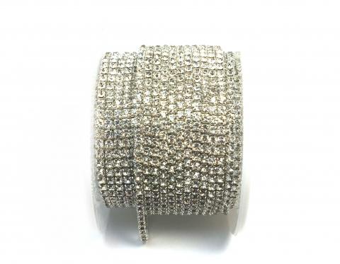 Стразовая цепочка, стекло, стразы 2 мм, кристалл в серебре