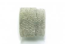 Стразовая цепочка, стекло, стразы 2 мм, кристалл в белом металле