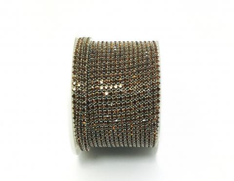Стразовая цепочка, стекло, стразы 2 мм, янтарная в серебре