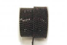 Стразовая цепочка, стекло, стразы 2 мм, тёмный аметист в никеле