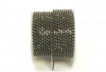 Стразовая цепочка, стекло, стразы 2 мм, тёмный аметист в серебре