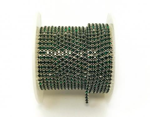 Стразовая цепочка, стекло, стразы 2 мм, изумруд в серебре