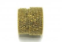 Стразовая цепочка, стекло, стразы 2 мм, золото в золоте