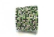 Стразовая цепочка, стекло, стразы 2 мм, зеленый микс в серебре