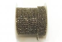 Стразовая цепочка, стекло, стразы 2 мм, серая в серебре
