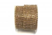 Стразовая цепочка, стекло, стразы 2 мм, светлый аметист в золоте