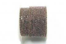 Стразовая цепочка, стекло, стразы 2 мм, светлый аметист в серебре