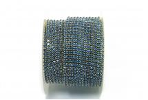 Стразовая цепочка, стекло, стразы 2 мм, светло-синяя в золоте