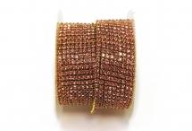 Стразовая цепочка, стекло, стразы 2 мм, светло-розовая в золоте