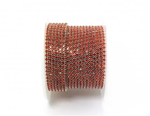Стразовая цепочка, стекло, стразы 2 мм, светлый сиам в серебре