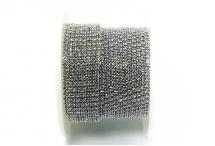Стразовая цепочка, стекло, стразы 2 мм, сиреневая в серебре