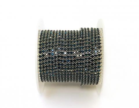 Стразовая цепочка, стекло, стразы 2 мм, монтана в серебре