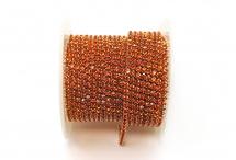 Стразовая цепочка, стекло, стразы 2 мм, оранжевая в серебре